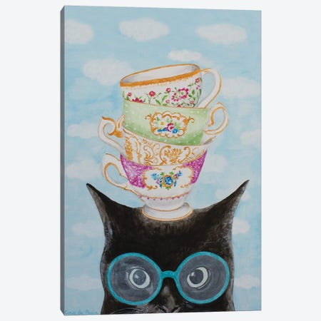 Cat With Stacking Cups Canvas Print #COC329} by Coco de Paris Art Print