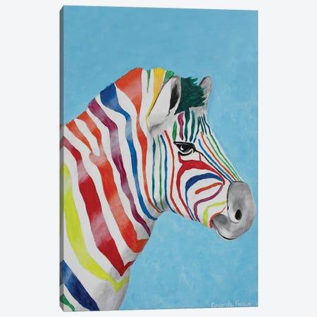 Zebra Rainbow Head Canvas Print #COC331} by Coco de Paris Canvas Art