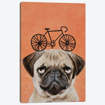 Pug With Bicycle Canvas Print #COC332} by Coco de Paris Canvas Wall Art