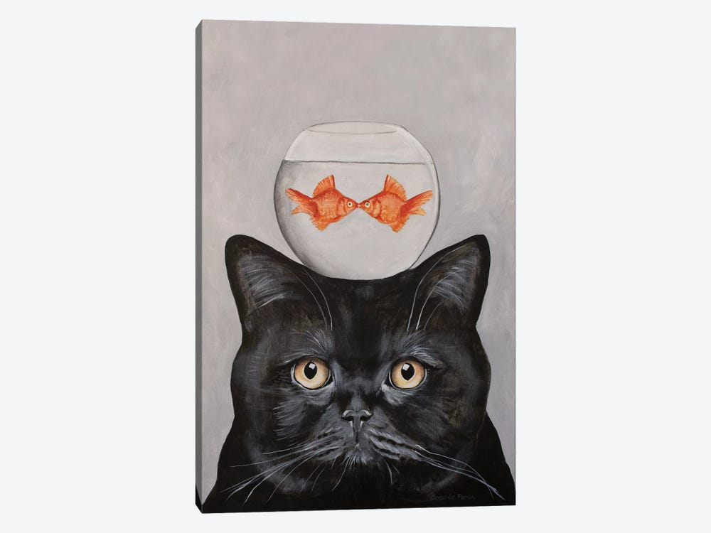 Cat With Fishbowl by Coco de Paris 1-piece Canvas Wall Art