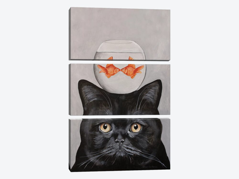 Cat With Fishbowl by Coco de Paris 3-piece Canvas Artwork