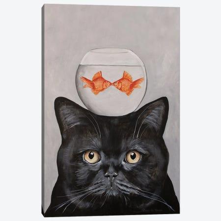 Cat With Fishbowl Canvas Print #COC334} by Coco de Paris Canvas Art Print