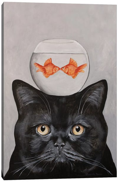 Cat With Fishbowl Canvas Art Print