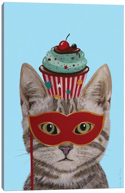 Cat With Cupcake Canvas Art Print
