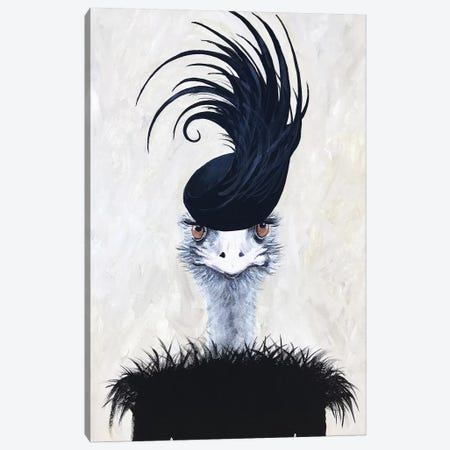 Ostrich With Feather Hat Canvas Print #COC336} by Coco de Paris Canvas Art Print