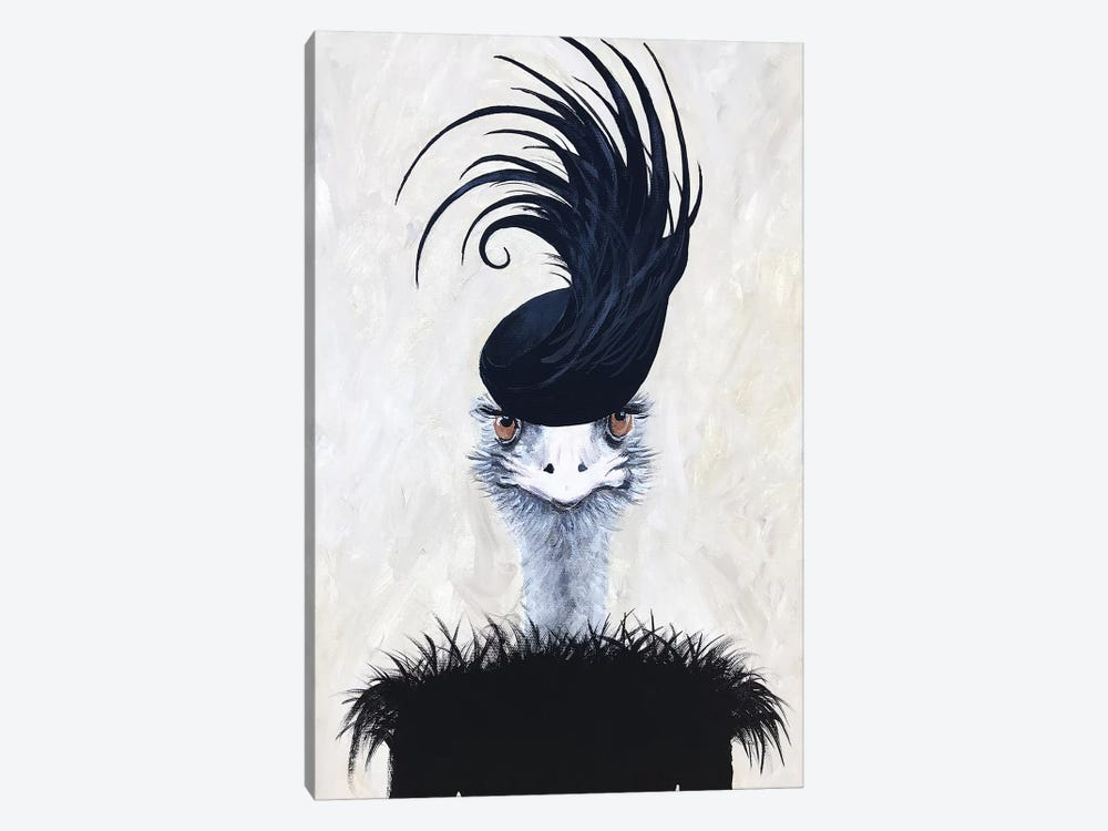 Ostrich With Feather Hat 1-piece Canvas Art