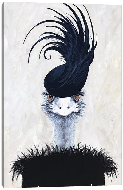 Ostrich With Feather Hat Canvas Art Print