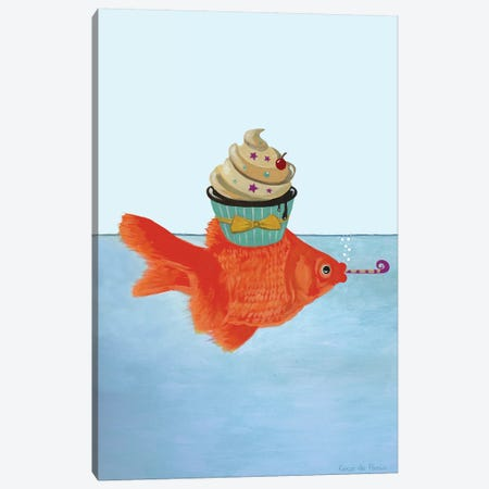 Goldfish With Cupcake Canvas Print #COC337} by Coco de Paris Canvas Art Print