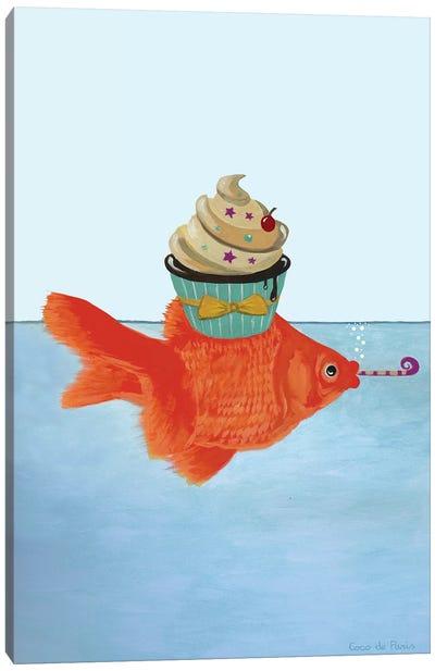Goldfish With Cupcake Canvas Art Print