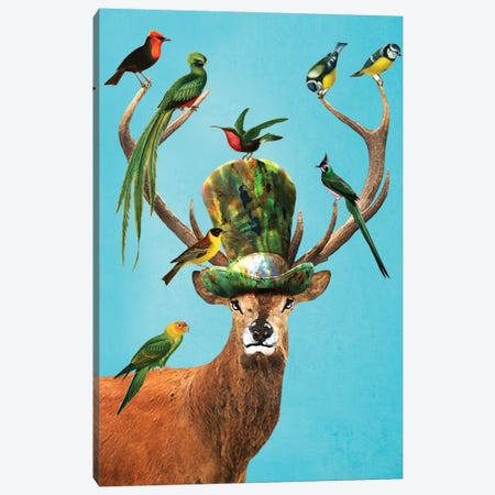 Deer With Birds Canvas Print #COC33} by Coco de paris Art Print