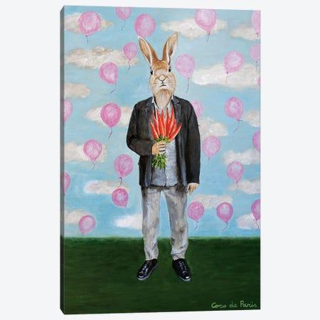 Rabbit With Balloons Canvas Print #COC343} by Coco de Paris Art Print