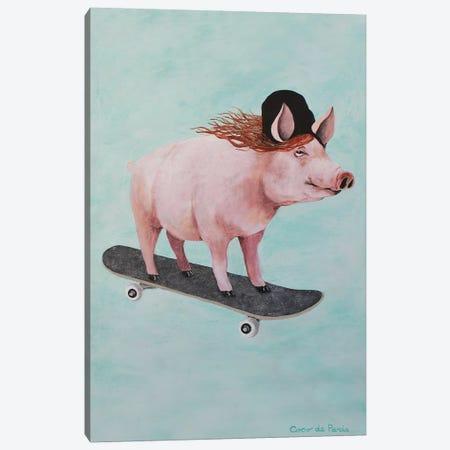 Pig Skateboarding Canvas Print #COC345} by Coco de Paris Canvas Wall Art