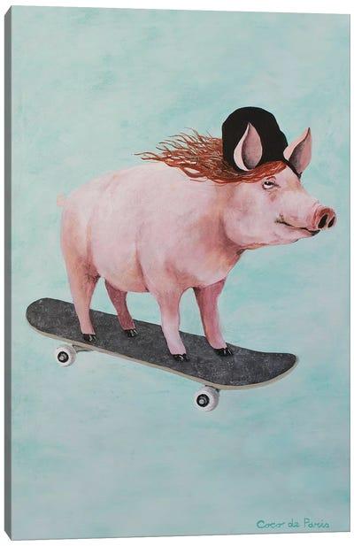 Pig Skateboarding Canvas Art Print