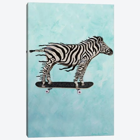 Zebra Skateboarding Canvas Print #COC346} by Coco de Paris Canvas Artwork