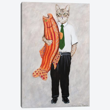 Cat With Big Fish Canvas Print #COC347} by Coco de Paris Canvas Artwork
