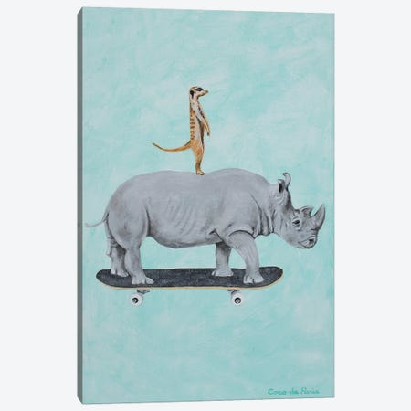 Rhinoceros And Meerkat Skateboarding Canvas Print #COC348} by Coco de Paris Art Print