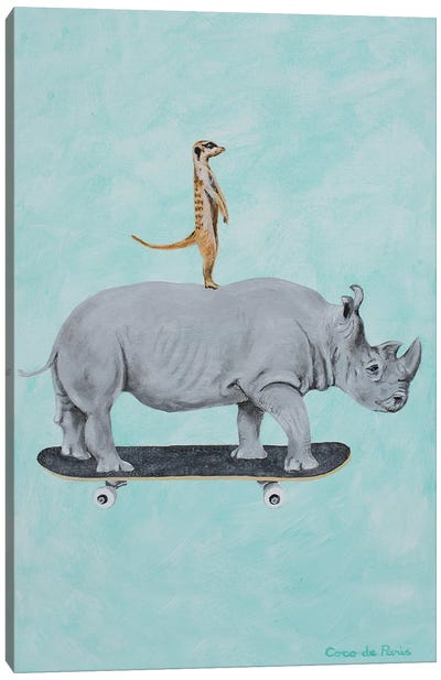 Rhinoceros And Meerkat Skateboarding Canvas Art Print