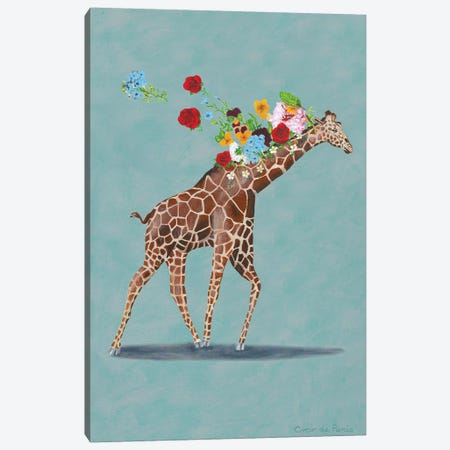 Giraffe With Flowers Canvas Print #COC349} by Coco de Paris Canvas Art Print