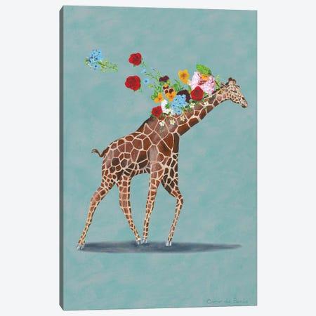 Giraffe With Flowers Canvas Print #COC349} by Coco de Paris Canvas Art Print