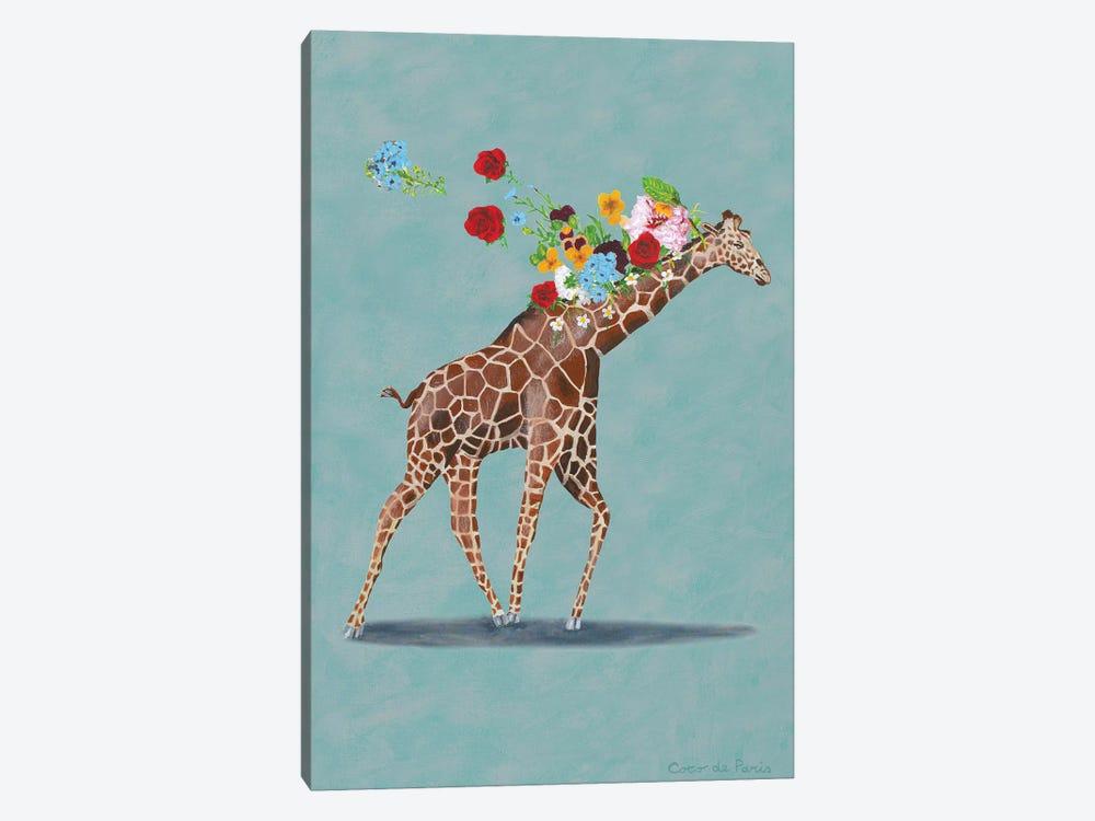 Giraffe With Flowers by Coco de Paris 1-piece Canvas Wall Art