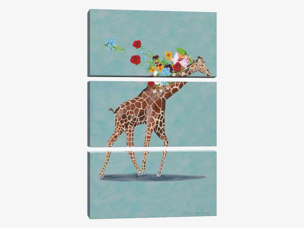 Giraffe With Flowers by Coco de Paris 3-piece Canvas Artwork