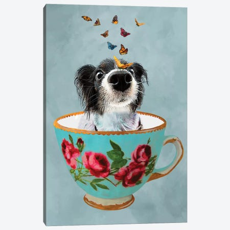 Doggy In A Cup Canvas Print #COC34} by Coco de Paris Canvas Art
