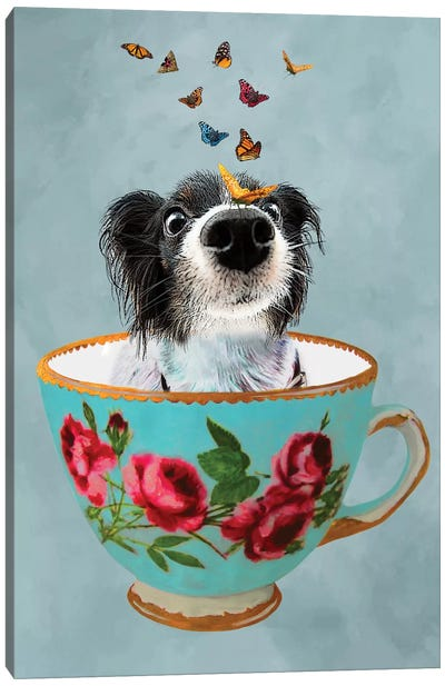 Doggy In A Cup Canvas Art Print