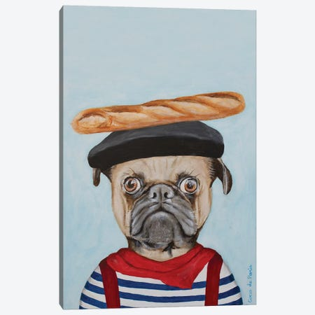 French Pug Canvas Print #COC350} by Coco de Paris Canvas Wall Art