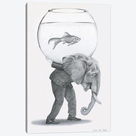 Elephant With Fishbowl Canvas Print #COC351} by Coco de Paris Canvas Wall Art