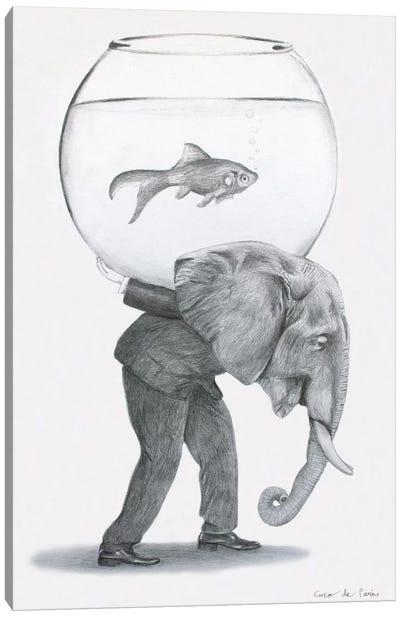Elephant With Fishbowl Canvas Art Print