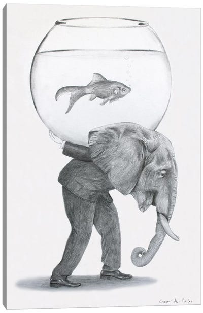 Elephant With Fishbowl Canvas Art Print