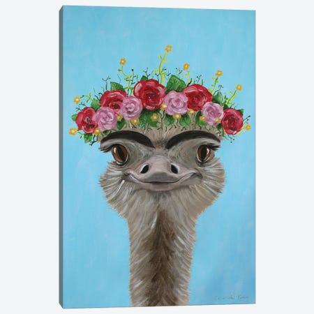 Frida Kahlo Ostrich Blue Canvas Print #COC353} by Coco de Paris Canvas Artwork