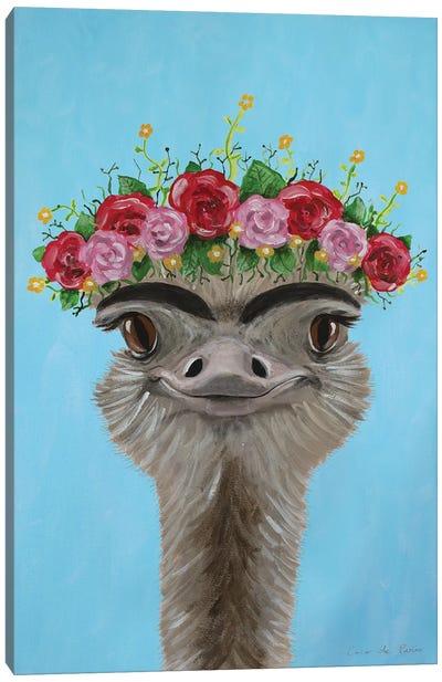 Frida Kahlo Ostrich Blue Canvas Art Print