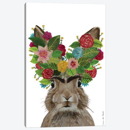Frida Kahlo Rabbit White Canvas Print #COC356} by Coco de Paris Art Print