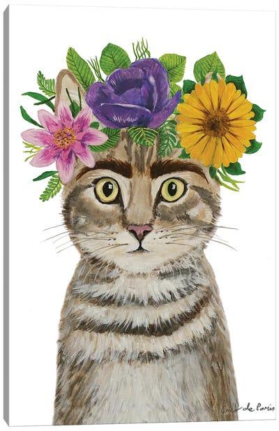 Frida Kahlo Cat White Canvas Art Print