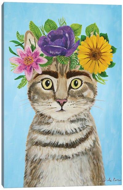 Frida Kahlo Cat Blue Canvas Art Print