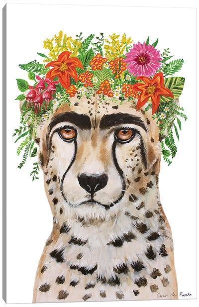 Frida Kahlo Cheetah White Canvas Art Print