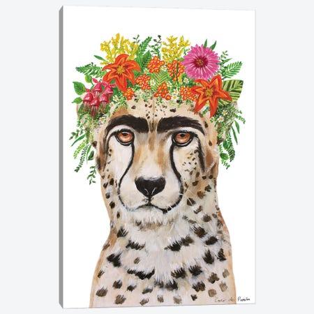 Frida Kahlo Cheetah White Canvas Print #COC361} by Coco de Paris Canvas Print