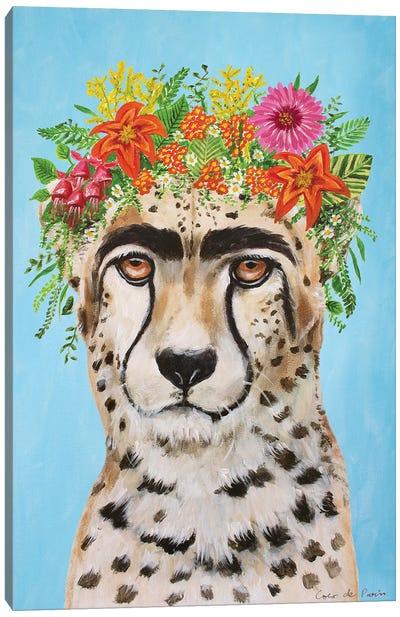 Frida Kahlo Cheetah Blue Canvas Art Print
