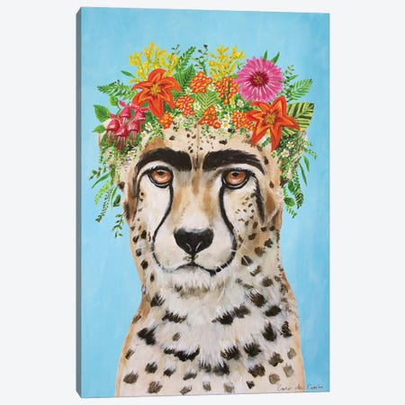 Frida Kahlo Cheetah Blue Canvas Print #COC362} by Coco de Paris Canvas Print