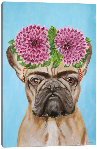 Frida Kahlo Frenchie Blue Canvas Art Print