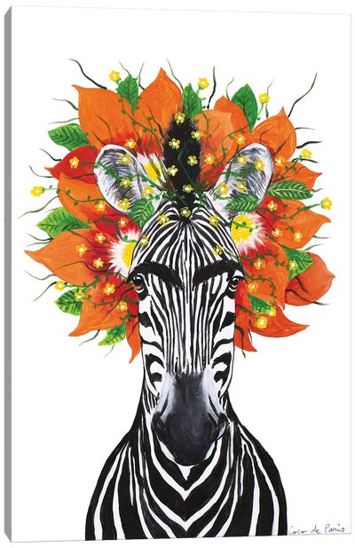 Frida Kahlo Zebra White Canvas Art Print