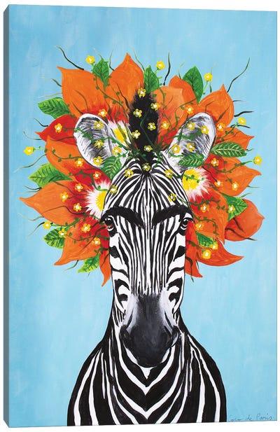 Frida Kahlo Zebra Blue Canvas Art Print