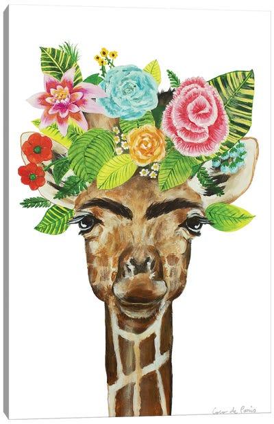 Frida Kahlo Giraffe White Canvas Art Print