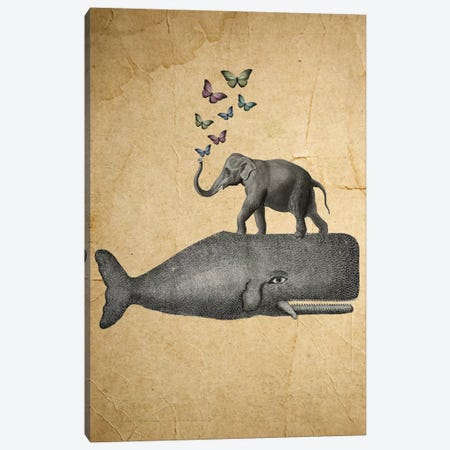 Elephant On Whale Canvas Print #COC36} by Coco de Paris Canvas Wall Art