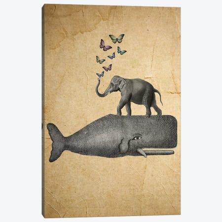 Elephant On Whale Canvas Print #COC36} by Coco de Paris Canvas Wall Art