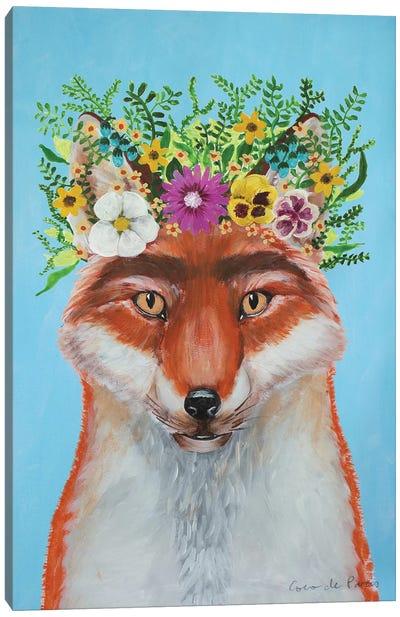 Frida Kahlo Fox Blue Canvas Art Print