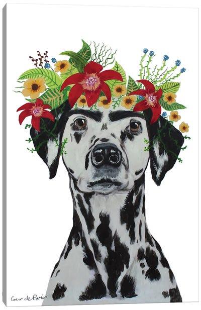 Frida Kahlo Dalmatian White Canvas Art Print