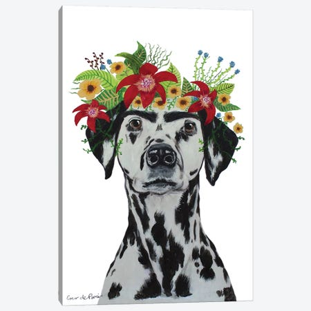 Frida Kahlo Dalmatian White Canvas Print #COC371} by Coco de Paris Canvas Wall Art