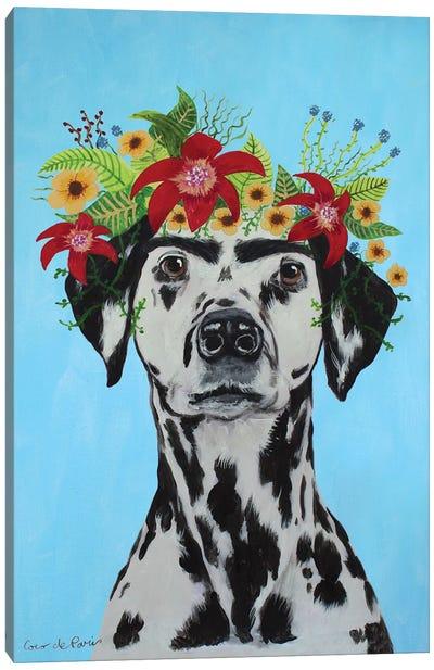 Frida Kahlo Dalmatian Blue Canvas Art Print